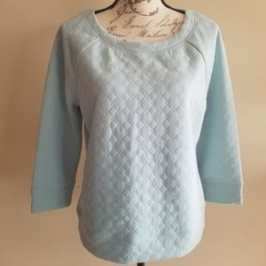 Halogen tiffany blue quilted shirt size M